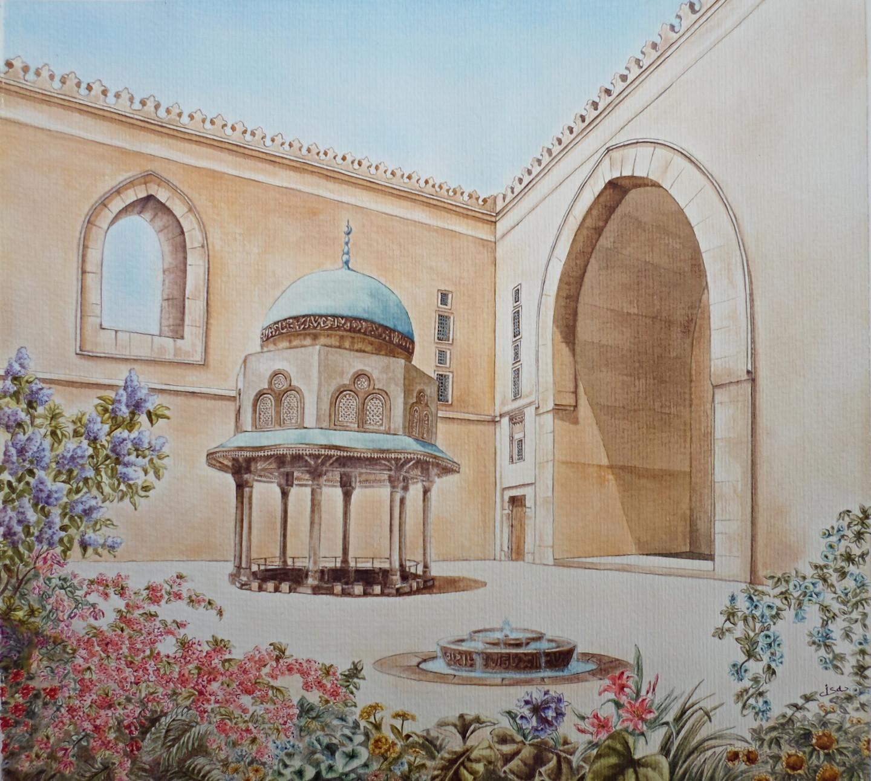 Isabelle Blanchon - Cour de la mosquée du sultan Hassan - Egypte.