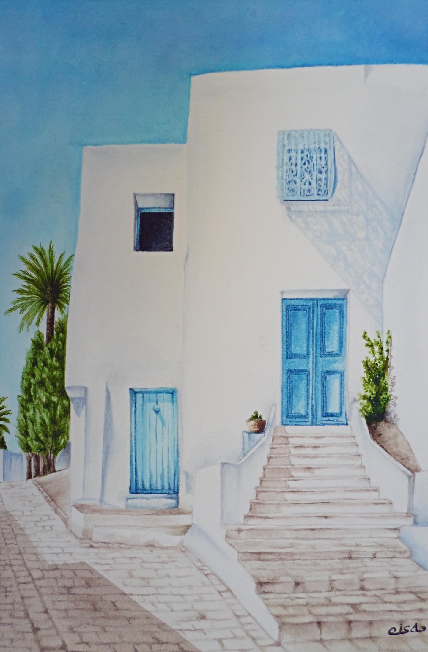 Isabelle Blanchon - Sidi Bou Saïd, ruelle - Tunisie.